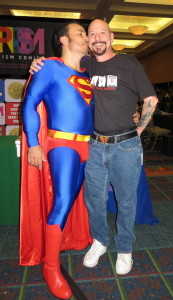 Jim Cartwright with a very friendly Superman